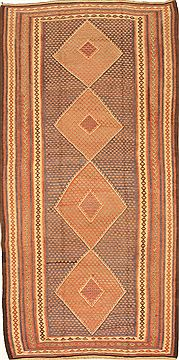 "Kilim Brown Runner Hand Knotted 4'4"" X 9'1""  Area Rug 100-28107"