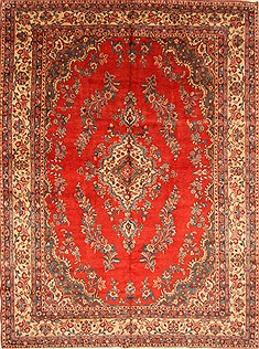 Persian Hamedan Beige Rectangle 10x13 ft Wool Carpet 28124