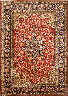 Persian Isfahan Red Rectangle 9x13 ft Wool Carpet 28136
