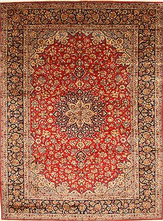 Persian Isfahan Red Rectangle 10x13 ft Wool Carpet 28137