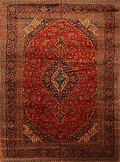 "Kashan Red Hand Knotted 9'9"" X 13'4""  Area Rug 100-28138"