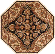 "Jaipur Black Octagon Hand Knotted 5'0"" X 5'0""  Area Rug 250-28203"