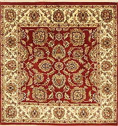 Indian Jaipur Red Square 4 ft and Smaller Wool Carpet 28228