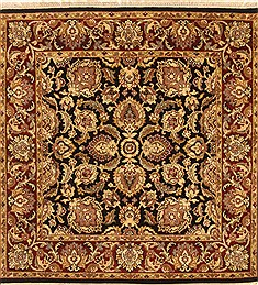 Indian Jaipur Black Square 4 ft and Smaller Wool Carpet 28231