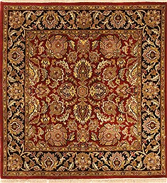 Indian Jaipur Red Square 4 ft and Smaller Wool Carpet 28332