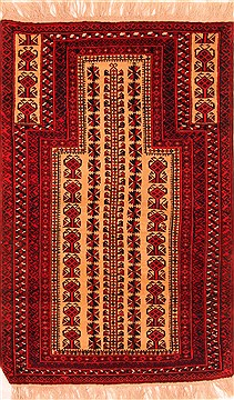 Afghan Baluch Beige Rectangle 3x5 ft Wool Carpet 28381