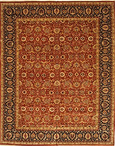 Indian Haji Jalili Beige Rectangle 12x15 ft Wool Carpet 28452