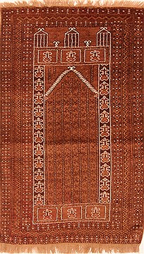 Afghan Baluch Brown Rectangle 3x5 ft Wool Carpet 28460
