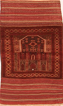 Afghan Baluch Brown Rectangle 3x5 ft Wool Carpet 28532