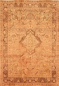 Persian Tabriz Brown Rectangle 7x10 ft Wool Carpet 28538