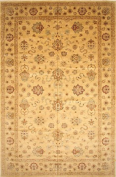 Indian Pishavar Beige Rectangle 12x18 ft Wool Carpet 28539