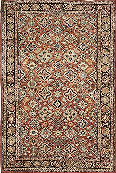 "Mahal Red Hand Knotted 6'5"" X 10'5""  Area Rug 500-28560"