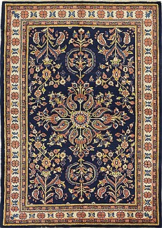 Persian sarouk Blue Rectangle 5x7 ft Wool Carpet 28570