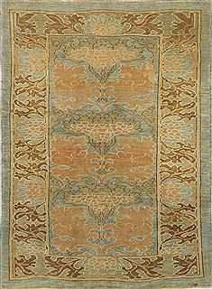 "Oushak Green Hand Knotted 4'1"" X 5'5""  Area Rug 500-28579"