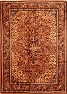 Romania Tabriz Brown Rectangle 7x9 ft Wool Carpet 28585