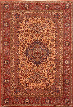 "Tabriz Red Hand Knotted 6'1"" X 8'10""  Area Rug 100-28604"