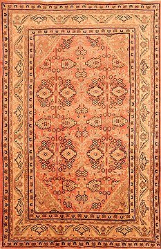 "Mahal Red Hand Knotted 6'7"" X 10'10""  Area Rug 100-28616"