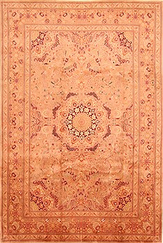 "Tabriz Brown Hand Knotted 6'9"" X 10'1""  Area Rug 100-28618"
