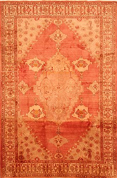 Persian Kashan Red Rectangle 6x9 ft Wool Carpet 28619