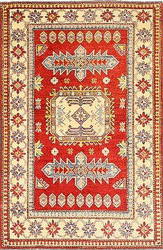 Pakistani Kazak Red Rectangle 4x6 ft Wool Carpet 28665
