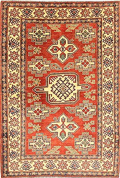 Pakistani Kazak Red Rectangle 4x6 ft Wool Carpet 28681