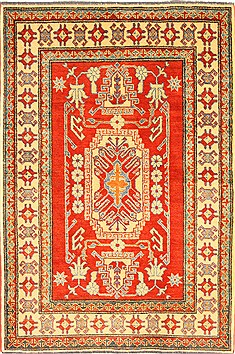 Pakistani Kazak Orange Rectangle 4x6 ft Wool Carpet 28690