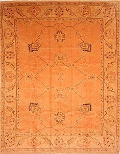"Oushak Orange Hand Knotted 8'3"" X 12'3""  Area Rug 100-28712"