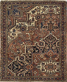 "Heriz Brown Square Hand Knotted 4'7"" X 5'5""  Area Rug 500-28760"