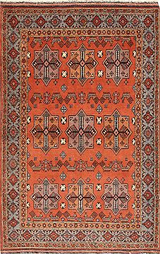 Afghan Shahre babak Brown Rectangle 4x6 ft Wool Carpet 28783