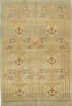 Turkish Oushak Green Rectangle 4x6 ft Wool Carpet 28835