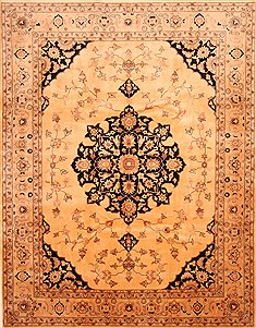 "Tabriz Beige Hand Knotted 8'10"" X 11'2""  Area Rug 100-28842"