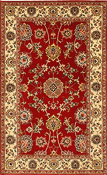 Indian Isfahan Red Rectangle 3x4 ft Wool Carpet 28993