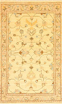 Pakistani Pishavar Beige Rectangle 3x4 ft Wool Carpet 29016