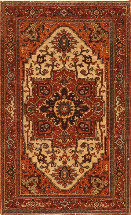 Indian Serapi Brown Rectangle 3x4 Ft Wool Carpet 29017