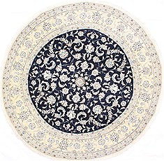 "Nain Blue Round Hand Knotted 7'0"" X 7'0""  Area Rug 254-29092"