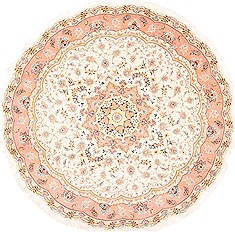 Persian Tabriz Beige Round 7 to 8 ft Wool Carpet 29099