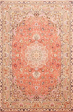 Persian Tabriz Beige Rectangle 7x10 ft Wool Carpet 29114