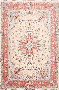 Persian Tabriz Purple Rectangle 7x10 ft Wool Carpet 29131