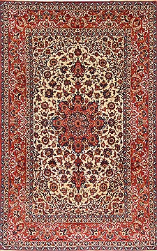 Persian Isfahan Beige Rectangle 7x10 ft Wool Carpet 29135