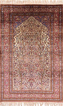 Persian Kashan Beige Rectangle 7x10 ft Silk Carpet 29136