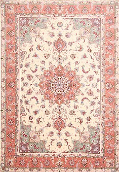 Persian Tabriz Purple Rectangle 7x10 ft Wool Carpet 29153