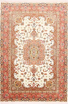 "Tabriz Purple Hand Knotted 6'8"" X 9'8""  Area Rug 254-29154"