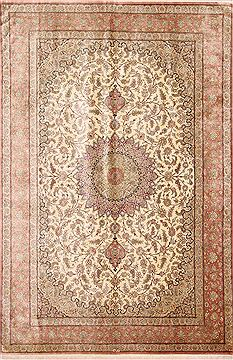 "Qum Purple Hand Knotted 6'5"" X 9'9""  Area Rug 254-29156"