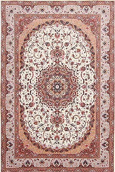 Persian Tabriz Beige Rectangle 7x10 ft Wool Carpet 29160