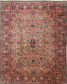 Persian Kerman Blue Rectangle 12x15 ft Wool Carpet 29166