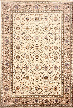"Tabriz Beige Hand Knotted 11'6"" X 16'8""  Area Rug 254-29173"