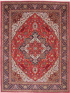 Persian Tabriz Blue Rectangle 10x13 ft Wool Carpet 29181