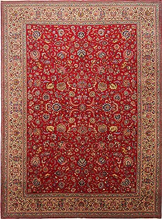 Persian Tabriz Red Rectangle 10x13 ft Wool Carpet 29186