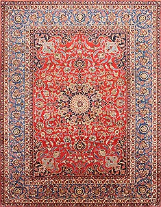 Persian Isfahan Red Rectangle 10x13 ft Wool Carpet 29195