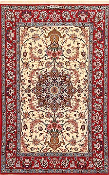 "Isfahan Beige Hand Knotted 3'7"" X 5'8""  Area Rug 254-29206"